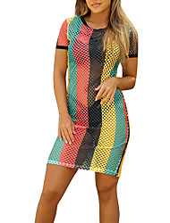 Women's Beach Holiday Daily Sexy Simple Loose Shift DressColor Block See-through blouses Mesh Round Neck Mini Short Sleeve Summer Mid Rise