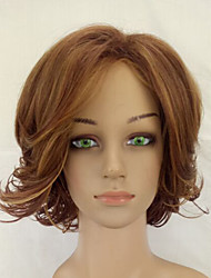 cheap -Synthetic Light Brown Shag Curly Wig  Woman Wig Medium Length High Temperature Fiber Hair