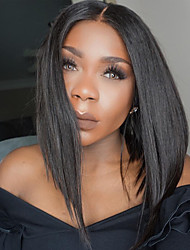 cheap -Human Hair Full Lace / Glueless Full Lace Wig Straight 130% Density Natural Hairline / African American Wig / 100% Hand Tied Women's Short / Medium Length / Long Human Hair Lace Wig