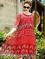 cheap -YENMEINAR Women's Going out Cute Sheath Dress,Print Round Neck Knee-length Half Sleeves Silk Summer Mid Rise Micro-elastic Medium