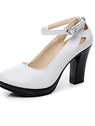 Damer Hæle Formelle sko Kunstlæder Forår Efterår Afslappet Formelle sko Tyk hæl Hvid Sort 12 cm og derover