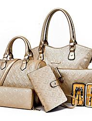 preiswerte -Damen Taschen PU Bag Set 6 Stück Geldbörse Set Niete Reißverschluss für Veranstaltung / Fest Formal Ganzjährig Blau Gold Weiß Schwarz