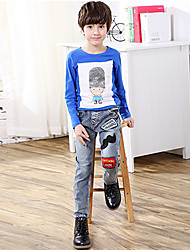 Boys' Stylish And Cool Comfortable Cotton Embroidered With Cartoon Beard  Washing Leisure Denim Trousers