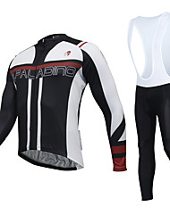 cheap -KEIYUEM Long Sleeves Cycling Jersey with Bib Tights - White Bike Tights Jersey Clothing Suits, 3D Pad, Quick Dry, Breathable,