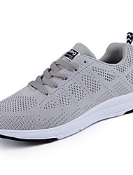 cheap -Women's Shoes Tulle Spring Fall Light Soles Athletic Shoes Walking Shoes Flat Heel Round Toe Lace-up For Casual White Black Gray