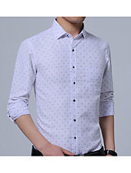 cheap -Men's Business Daily Casual Casual Spring Fall Shirt,Solid Shirt Collar Long Sleeves Cotton