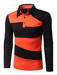 cheap -Men's Street chic T-shirt - Striped Shirt Collar