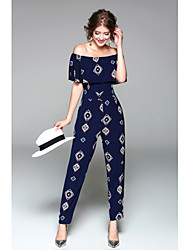 cheap -Women's Daily Going out Holiday Casual Sexy Print Boat Neck Jumpsuits,Slim Short Sleeve Spring Summer Polyester