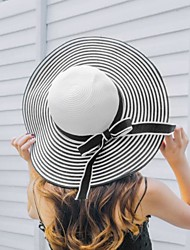 Popular Hepburn Wind Black White Striped Sun Hat Lady Large Brimmed Hat