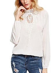 cheap -Women's Daily Street chic Summer Fall Blouse,Solid Round Neck Long Sleeves Spandex Medium