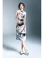 Χαμηλού Κόστους WHALE STUDIO-Γυναικεία Θήκη Φόρεμα - Φλοράλ, Σκίσιμο Στάμπα Όρθιος Γιακάς