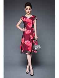 levne -Dámské Vintage Sofistikované Šik ven Pouzdro Swing Šaty - Květinový, Tisk Délka ke kolenům