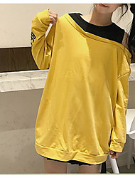 cheap -Women's Long Sleeves Cotton Sweatshirt - Solid Patchwork