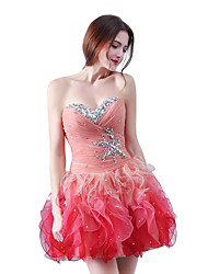 cheap -Sheath / Column Strapless Short / Mini Organza Cocktail Party Homecoming Dress with Cascading Ruffles by Sarahbridal