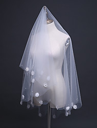 cheap -Two-tier Lace Applique Edge Pencil Edge Wedding Veil Elbow Veils With Applique Embroidery Ruffles Tulle