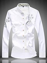 billige -Tynd Herre - Helfarve Bomuld, Trykt mønster Plusstørrelser Skjorte