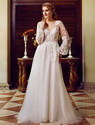 cheap -A-Line V-neck Sweep / Brush Train Lace Tulle Wedding Dress with Appliques by LAN TING BRIDE®