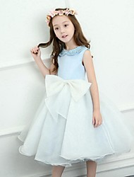 A-Line Tea Length Flower Girl Dress - Satin Sleeveless Jewel Neck with Bowknot Beading by LAN TING BRIDE®