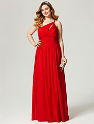 cheap -Sheath / Column One Shoulder Floor Length Chiffon Plus Size Formal Evening Dress by TS Couture®