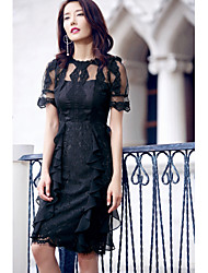 AGD Women's Party Going out Casual/Daily Club Sexy Simple Little Black Chiffon DressSolid Jewel Knee-length Above Knee Short SleevePolyester