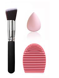 Large silver black oblique foundation brush & small non-latex drop powder & shampoo powder