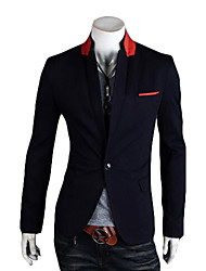 Men's Casual/Daily Street chic Spring/Fall Blazer,Striped V Neck Long Sleeve Short Organic Cotton