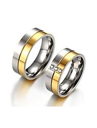 baratos -Casal Zircônia cúbica Anéis de Casal - Zircônia Cubica Vintage, Elegante 6 / 7 / 8 Dourado Para Casamento / Aniversário / Festa / Noivado / Diário