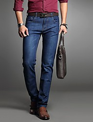 Homme Chinoiserie Taille Normale strenchy Droite Jeans Pantalon,Large Droite Couleur Pleine