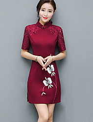 cheap -Women's Daily / Party/ Vintage / Street chic Sheath DressJacquard Round Neck Above Knee  Sleeve Red Rayon / PolyesterAll