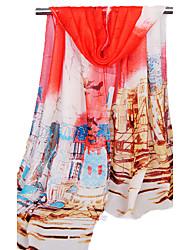 Women's Chiffon Fashion Cute Flowers Pink/Green/Orange/Beige Spring Summer Fall Winter All Seasons Scarf