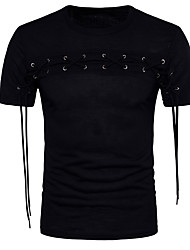 cheap -Men's Going out Casual T-shirt,Solid Floral Round Neck Short Sleeves Cotton