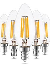 4W E12 Luzes de LED em Vela C35 4 leds COB Regulável Decorativa Branco Quente 300-400lm 2800-3200K AC 110-130 110V