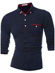 cheap -Men's Sports Active Cotton Slim Polo - Polka Dot Shirt Collar / Long Sleeve