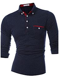 Недорогие -Муж. Спорт Polo Хлопок, Рубашечный воротник Тонкие Активный Горошек / Длинный рукав