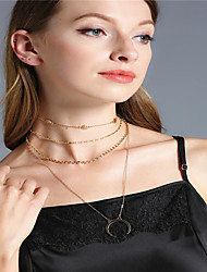 cheap -Women's Choker Necklace Pendant Necklace Chain Necklace Rhinestone Alloy Moon Flower Personalized Dangling Style Euramerican Multi-ways