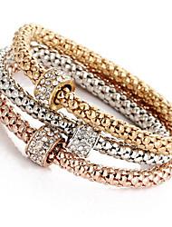 abordables -Femme Fille Diamant synthétique Chaînes & Bracelets Bracelets Rigides Bracelets - Naturel Amitié Rond Or Bracelet Pour Regalos de Navidad