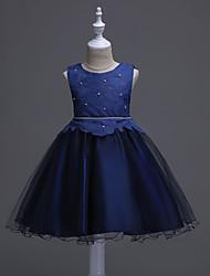 Недорогие -принцесса колено длина цветок девушка платье - атласная сетка без рукавов жемчужина шеи с аппликациями от bflower