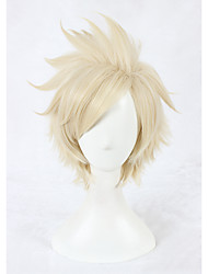 cheap -Cosplay Wigs 35cm Short Beige Final Fantasy FF15 Prompto Argentum Wig Synthetic Anime Hair Wig 326C