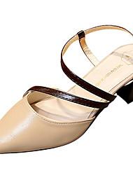 Women's Sandals Comfort Light Soles Summer PU Dress Block Heel Beige Gray Light Brown 2in-2 3/4in