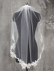 cheap -One-tier Lace Applique Edge Wedding Veil Elbow Veils 53 Appliques Lace Tulle