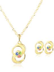 Per donna Collane con ciondolo Orecchini Set Circolare Pendente Vintage Classico Placcato in oro Ovale Rotondo Di forma geometrica Per