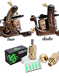 cheap -Professional Coil Tattoo Machine Copper Liner and Shader WIth Grip Tips