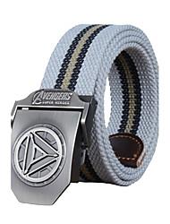 cheap -Men's Alloy Outdoor Waist Belt Casual/Business Color Block Striped Cotton Canvas Belt Black/Army Green/Light Grey