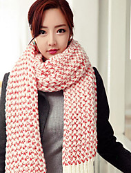 Women's Imitation Cashmere Rectangle Solid Winter All Seasons Black Red Blushing Pink Beige