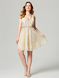 A-Line V-neck Knee Length Lace Cocktail Party Homecoming Dress with Beading Sash / Ribbon by TS Couture®