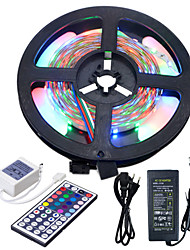 HKV® 5M NO-Waterproof 3528 RGB 300LED RGB Strip Light 44Key IR Remote Controller 5A Power Supply AC 100-240V