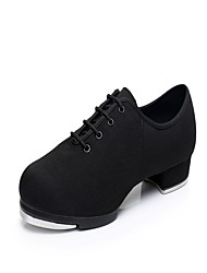 "Men's Tap Oxford Heel Sneaker Practice Low Heel Black 1"" - 1 3/4"""