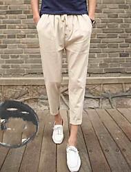 Недорогие -Для мужчин Простой Слабоэластичная Прямой силуэт Тонкие Штаны Брюки,Со стандартной талией Однотонный Лето