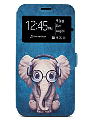 cheap -Case For Samsung Galaxy A5(2017) A3(2017) Cartoon Elephant Pattern Window Clamshell PU Leather Case with Stand and Card Slot