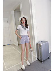 Women's Going out Casual/Daily Skirts Casual Fashion Spring Summer T-shirt Skirt Suits,Solid Striped Sexy V Neck Short SleeveClassic